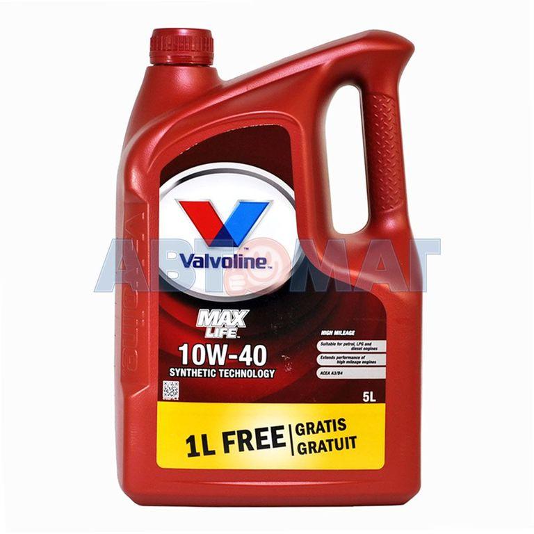 Масло VALVOLINE Maxlife 10w-40 SW 4л+1л (Полусинтетика)